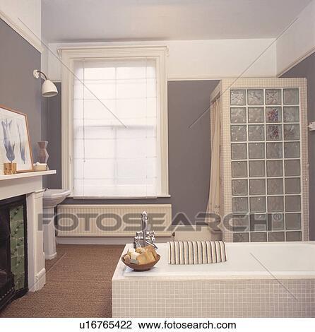 banque de photo - brique verre, douche, mur, amd, blanc, bain ... - Brique Verre Salle De Bain