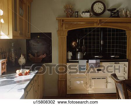 Stock Photo Of Cream Aga Oven In Traditional Country Kitchen