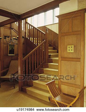 Cream Carpet On Wooden Staircase In Panelled Hall