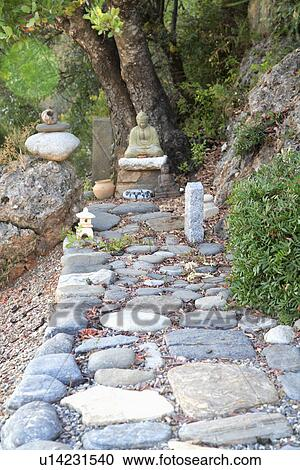 Smooth Pebble Path To Small Statue Of Buddha In Garden Stock Image U14231540 Fotosearch