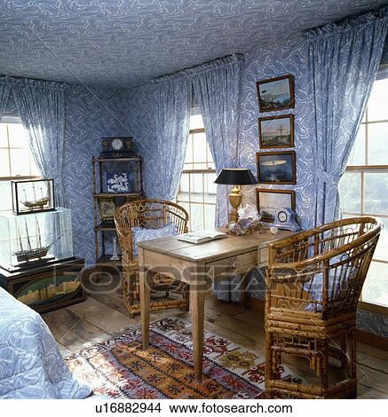Curtains Ideas curtains matching wallpaper : Pictures of Blue+white Toile-de-Jouy wallpaper and curtains and ...
