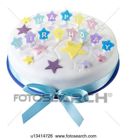 Happy Birthday Cake Picture.Iced Happy Birthday Cake Cut Out Standartinė Fotografija