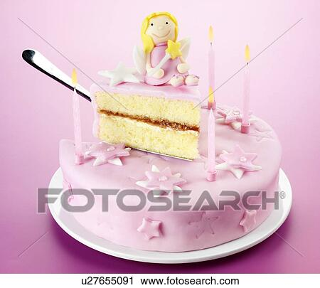 Magnificent Pink Fairy Birthday Cake Stock Image U27655091 Fotosearch Personalised Birthday Cards Sponlily Jamesorg