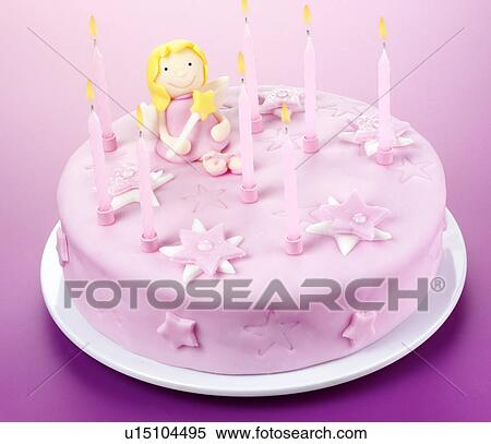 Brilliant Pink Fairy Birthday Cake Stock Photography U15104495 Fotosearch Personalised Birthday Cards Sponlily Jamesorg