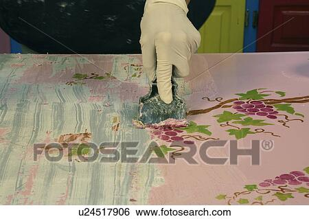 Art Home Decor Stripping Old Paint Off Formica Stock Photograph U24517906 Fotosearch