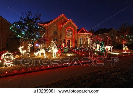 Noël, maison, maison, frisco, texas, usa, lumières, 144 Banque d\u0027Image
