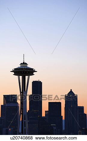pictures of seattle space needle skyline morning sky usa sky