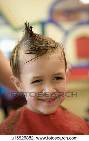 Stock Photo Of Kid Young Boy Smiles Gets Hair Cut Haircut Salon