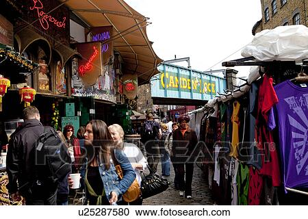 91600c28f990 Αγγλία, λονδίνο, camden, ρούχα, ακινητοποιούμαι, και, εστιατόριο, σε,  camden, κλειδαριά, market.