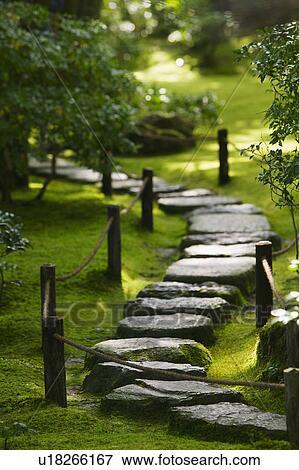 Image Japon Kyoto Okochi Denjiro Chemin Pierre Dans Jardin