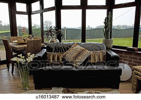 Animalprint, cojines, en, cuero negro, sofá, en, vida, y, comedor ...