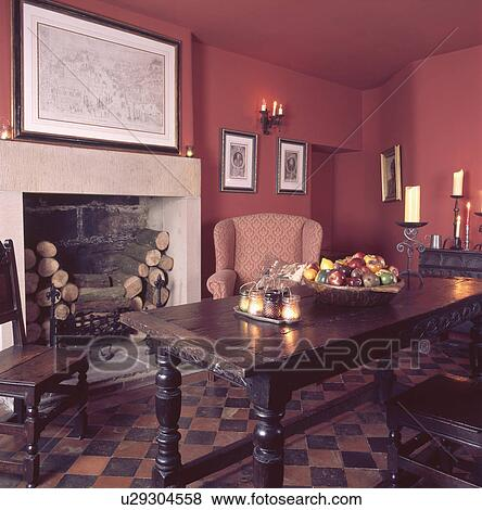 Antique Oak Table And Chairs In Red Dining Room With Stone Fireplace And  Old Red And Black Floor Tiles