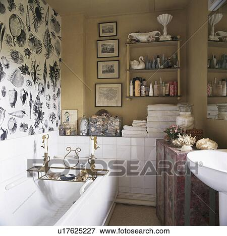 Black White Seashell Wallpaper Above Bath In Small Cream