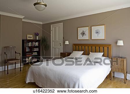 Banque de Photo - blanc, lin, lit, dans, moderne, beige, chambre à ...