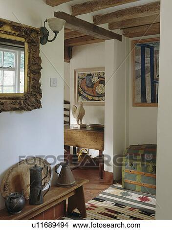 Colección de foto - florido, espejo, sobre, banco de madera, con ...