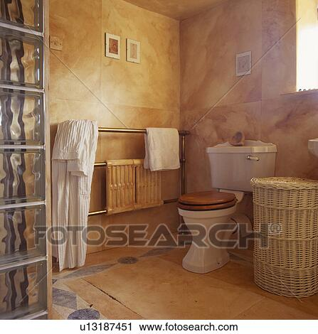 Marble Effect Painted Walls In Bathroom With Wicker Laundry