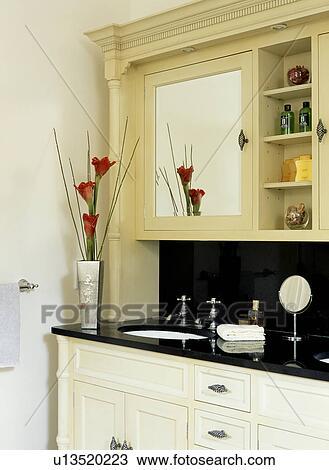 Mirror Above Underset Basin In Built Vanity Unit Traditional Bathroom