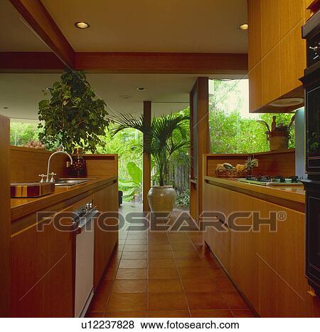 Moderno, cucina, con, andato bene, legno, unità, e, grande, windows ...