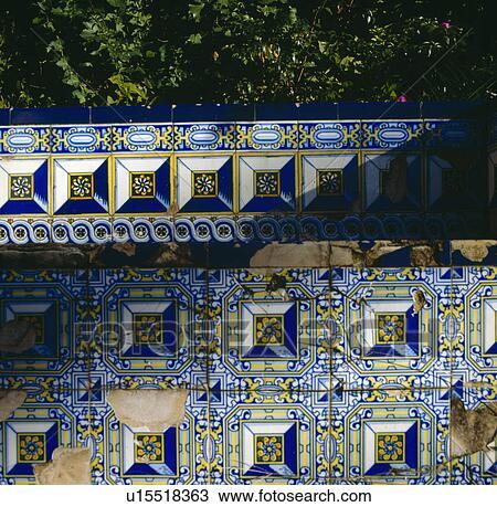 Nahaufnahme, Von, Blue+white+yellow, Spanisch Stil, Keramische Fliesen,  Auf, Gartenmauer