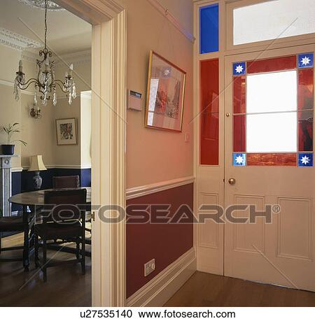 Stock Photography Of Townhouse Hall With Stained Glass Panel In