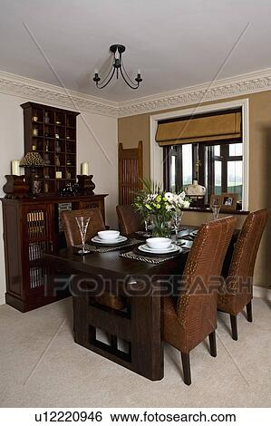 Astounding Upholstered Tan Leather Chairs And Dark Wood Table In Gmtry Best Dining Table And Chair Ideas Images Gmtryco