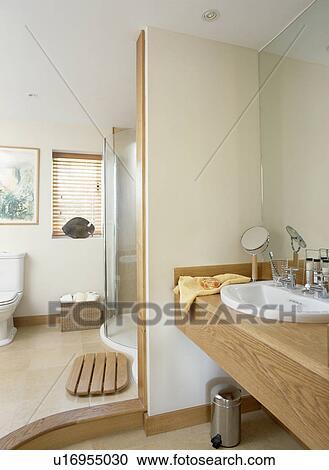 Wooden Vanity Unit In Modern Bathroom