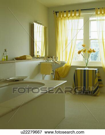 Yellow Voile Curtains In White Country