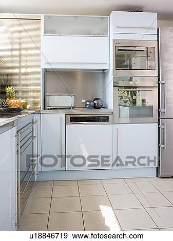 Acciaio inossidabile, doppio, forno, in, moderno, bianco, cucina ...
