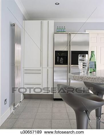 Stock Fotograf - American-style, rostfreier stahl, kühlschrank, in ...