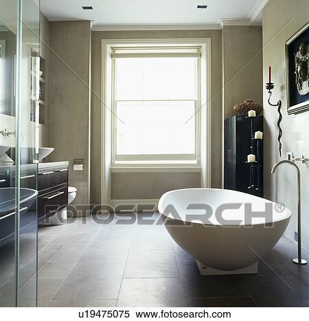 Asymétrique, blanc, bain, à, pied, robinet, dans, moderne, gris ...