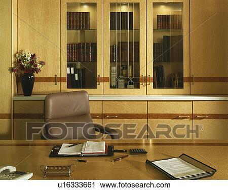 Ensemble bureau et desserte tiroirs bois et gris clair