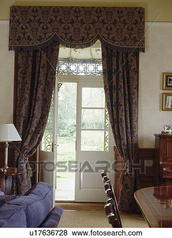 Immagini - blu scuro, modellato, tenda, su, windows francese, in ...