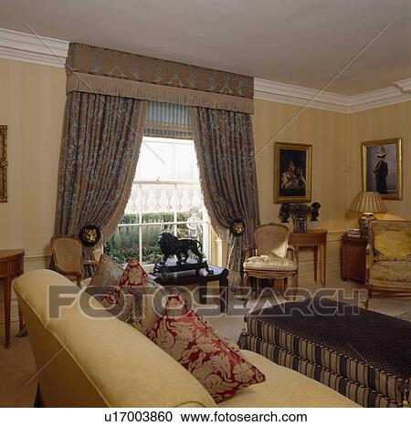 Blue Beige Curtains In Traditional Living Room With Neutral