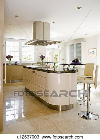Cream And Chrome Pedestal Stools At Cream Island Unit In Modern