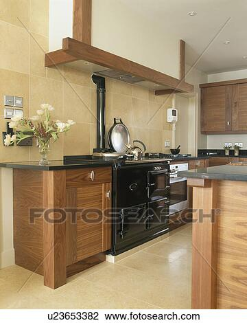 Stock Photo Of Cream Travertine Wall Tiles In Modern Kitchen With