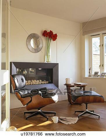 Colección de imágenes - cuero negro, charles, eames, sillón, y ...