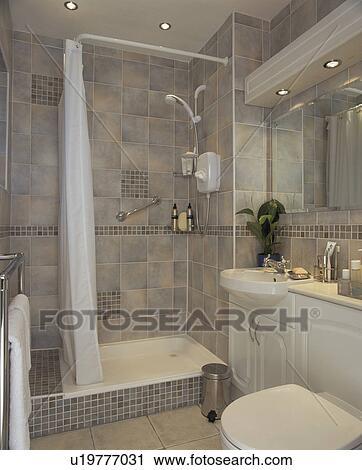 Banques de Photographies - douche, cabinet, dans, moderne, gris ...
