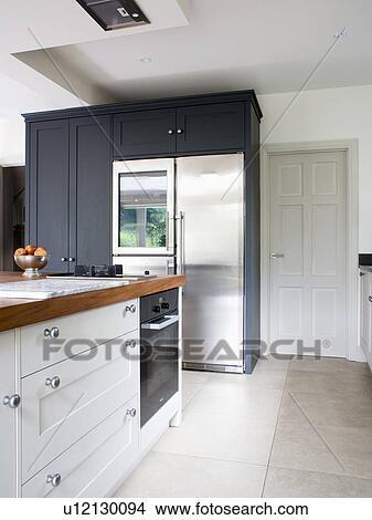 Groß, rostfreier stahl, american-style, kühlschrank tiefkühlschrank, in,  modernes, weiß, kueche Bild
