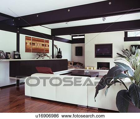 Large White Sofa In Modern White Living Room With Black Ceiling