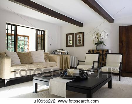 Low Black Coffee Table And Cream Sofa And Chairs In Modern White