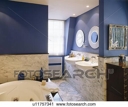 Banco de Fotografías - mármol, azulejos de pared, en, moderno, azul ...