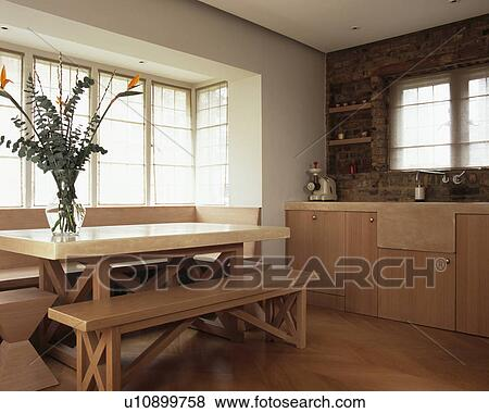 Melamine-topped table and wooden benches in modern country kitchen & Pictures of Melamine-topped table and wooden benches in modern ...