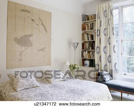 Oriental, style, image, au-dessus, lit, à, bleu blanc, édredon, dans, pays,  chambre à coucher Banque d\'Image
