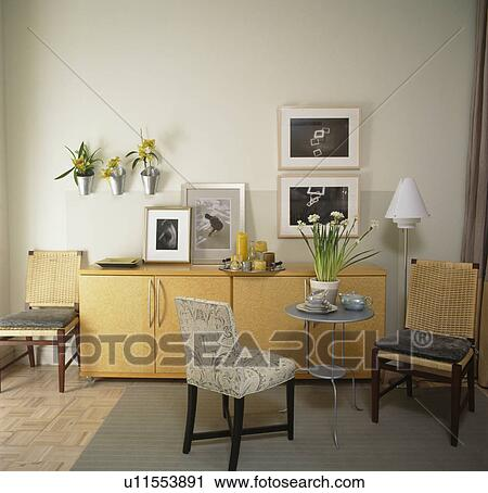 Beau Pale Wood Sideboard And Small Table With Upholstered Chairs In Apartment  Dining Room
