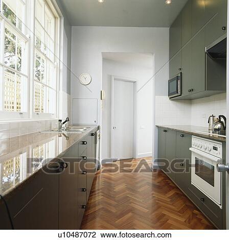 Archivio Fotografico - parquet, pavimentazione, in, moderno, cucina ...