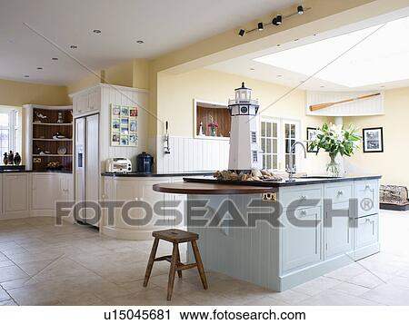 Pastel Blue Island Unit In Pale Yellow Kitchen Extension With Ed Cream Units And Limestone Flooring