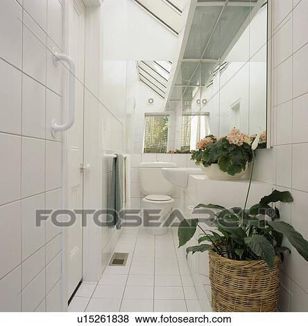 Fotos - pequeño, moderno, blanco, embaldosado, cuarto de baño ...