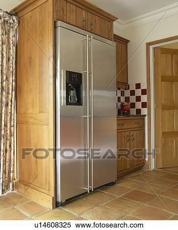 Rostfreier stahl, american-style, kühlschrank tiefkühlschrank, in ...