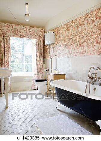 Stock Afbeelding - roze, toile-de-jouy, gordijnen, en, behang, in ...