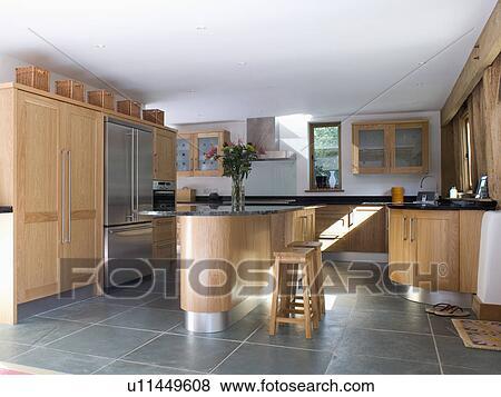 3d Fußboden Küche ~ Schiefer fussboden und insel einheit in modernes kueche mit